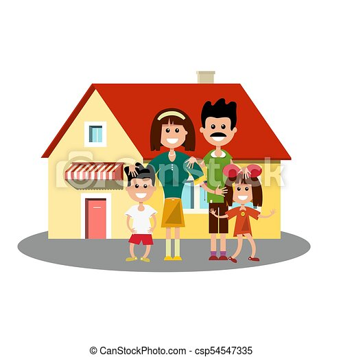 House Icon with Happy Family - csp54547335