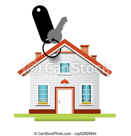 House Icon with Key and Key Holder - csp52829944