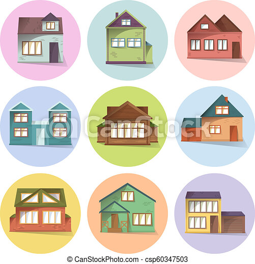 House icons set, different type of houses, building facades, semi flat  style with shadows, vector