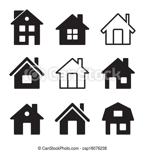 House Icons Set on White - csp18076238