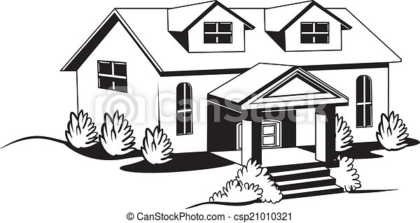 Black And White House With Bushes And Lawn Vector