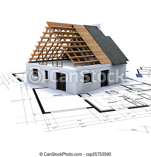 House in construction and blueprints 2 - csp25753590