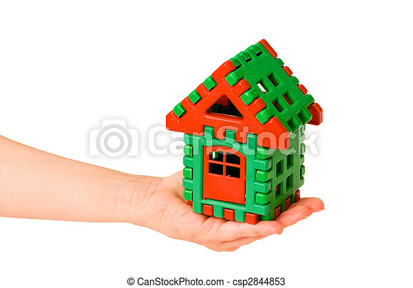 House in hand isolated on the white - csp2844853