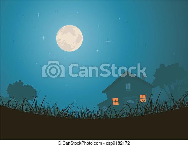 House In Moonlight Landscape - csp9182172