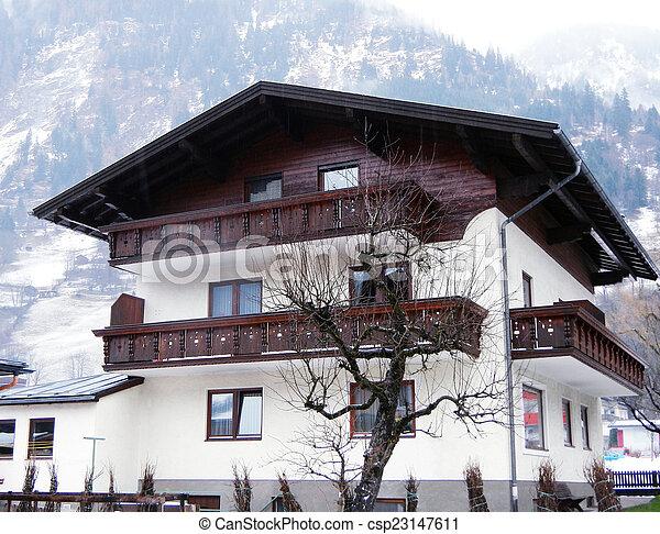 House in mountain village, Austria - csp23147611