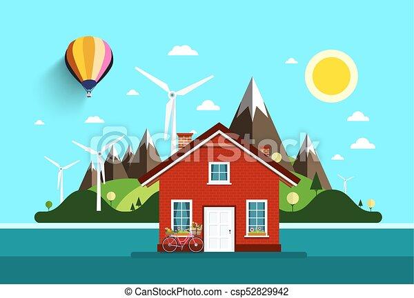 House in Nature. Vector Flat Design Landscape. - csp52829942