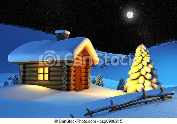 house in snow mountain  - csp0900215