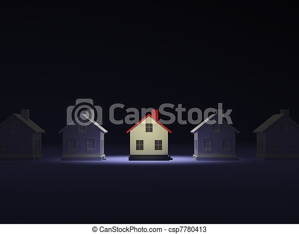 House in the light over dark background - csp7780413