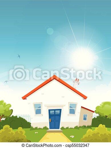 House Inside Spring Garden - csp55032347