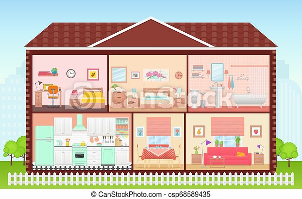 House Inside With Rooms Interiors Vector Illustration In Flat Design House Inside Room Interior Vector Cartoon House