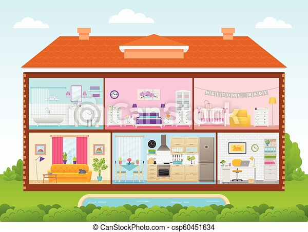 House Interior Cutaway With Rooms Vector Illustration In Flat Design
