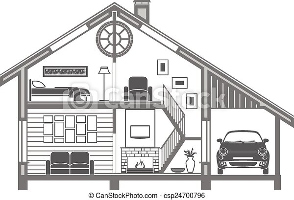 House interior silhouette. vector illustration.