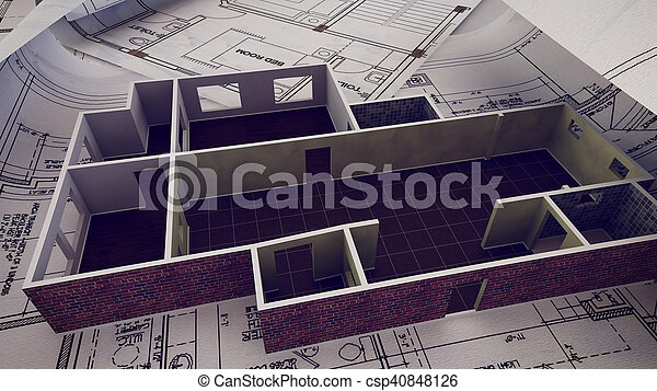 3d rendering of house is building on blueprints stock photo house is building on blueprints csp40848126 malvernweather Image collections