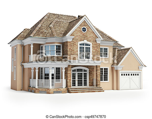 House isolated on white. Real estate concept. 3d - csp49747870