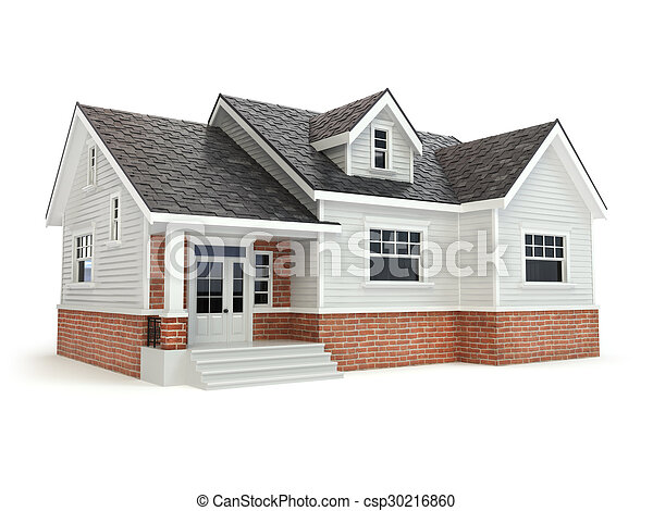 House isolated on white. Real estate concept. - csp30216860