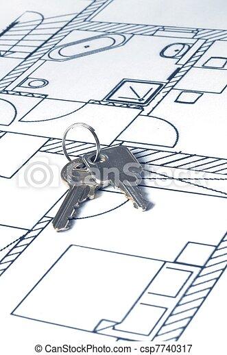 house key on a blueprint - csp7740317