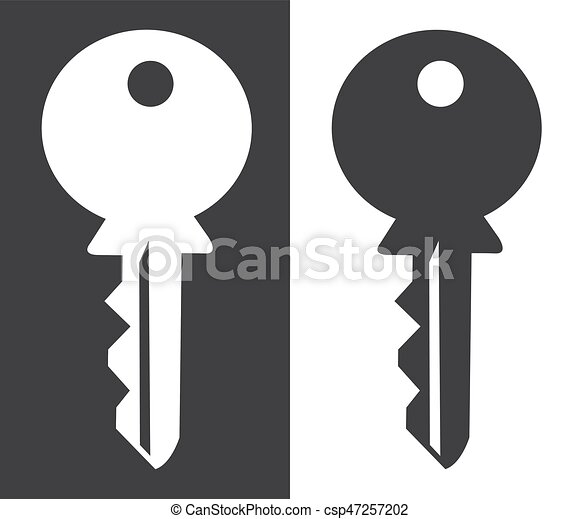 House Key Silhouette White And Black Background