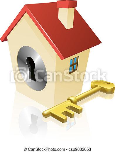 House keyhole key concept - csp9832653
