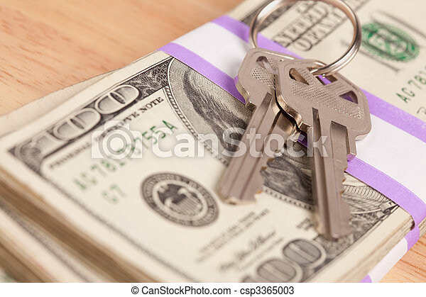 House Keys on Stack of Money - csp3365003