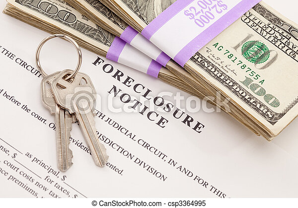 House Keys, Stack of Money and Foreclosure Notice - csp3364995