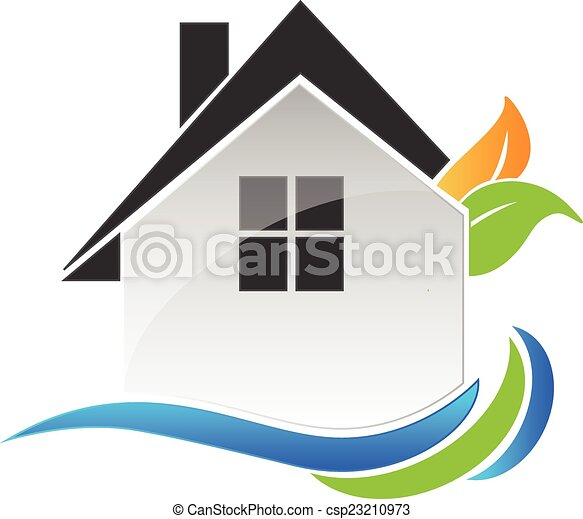 House leafs and waves logo - csp23210973
