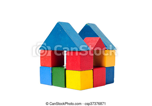 House made of old cubes. - csp37376871