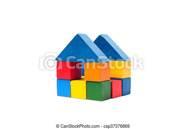 House made of old cubes. - csp37376869