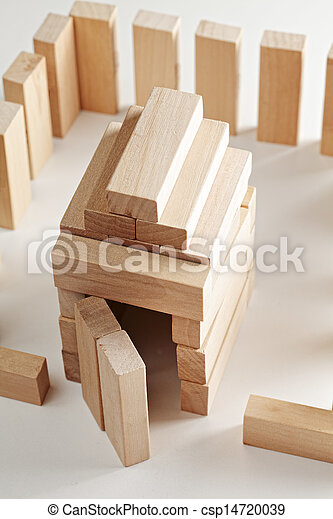 House made of wooden blocks - csp14720039