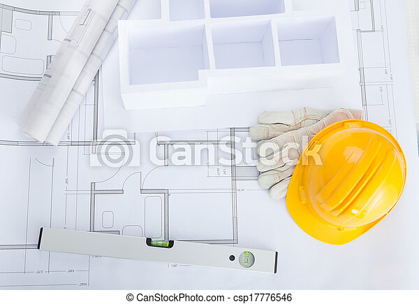 High angle view of house model on blueprint with hardhat house model on blueprint csp17776546 malvernweather Choice Image