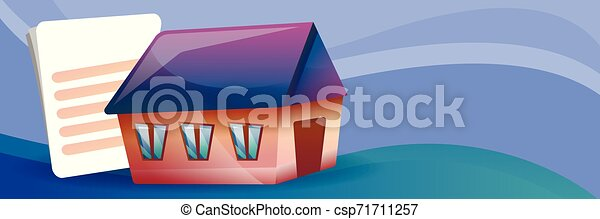House Mortgage Concept Banner Cartoon Style House Mortgage Concept Banner Cartoon Illustration Of House Mortgage Vector