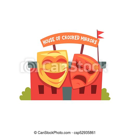 House Of Crooked Mirrors Colorful Amusement Park Icon
