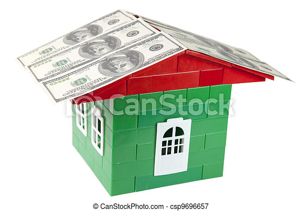 house of designer with the money on a white background - csp9696657