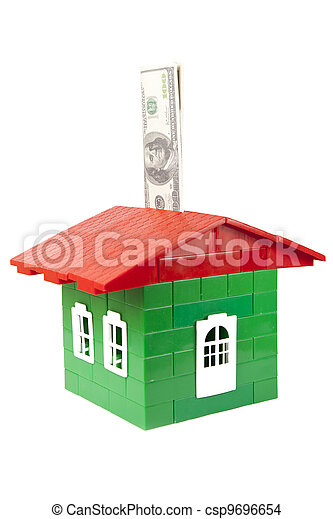 house of designer with the money on a white background - csp9696654