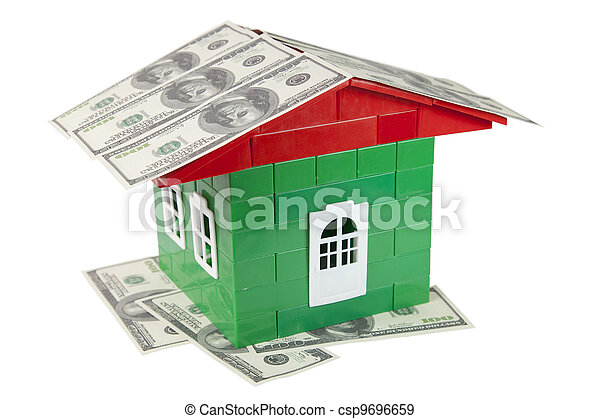 house of designer with the money on a white background - csp9696659