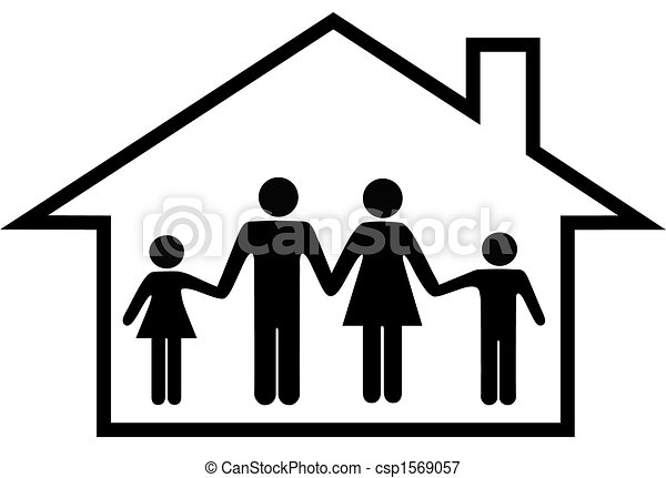 House of happy family parents and children safe at home - csp1569057