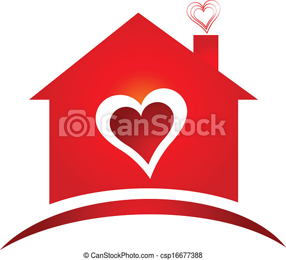 House of heart logo creative design - csp16677388