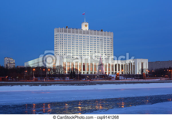 House of Russian Federation Government or White house in Moscow at evening - csp9141268