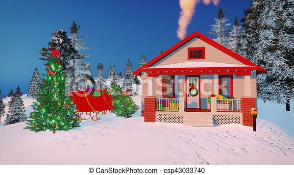 house of santa claus decorated for christmas csp43033740 - Decorative Christmas Boxes
