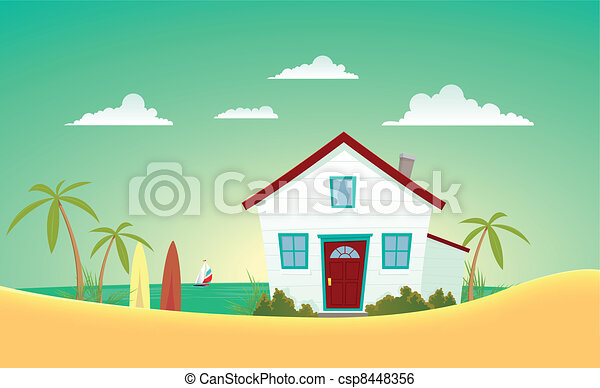 house of the beach illustration of a cartoon house near - Beach House Drawings