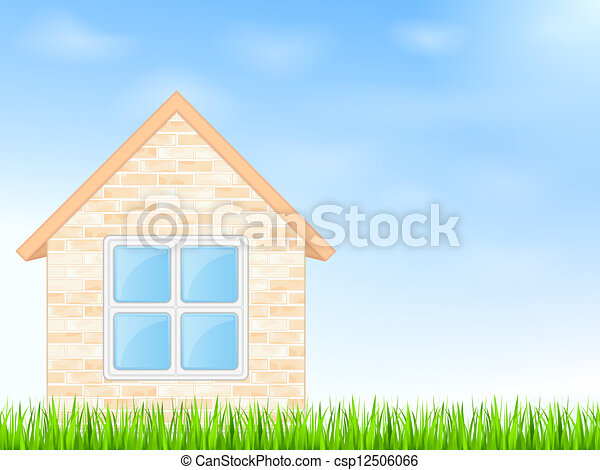 House on a blue sky background - csp12506066