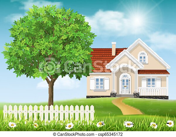 House on a hill and tree - csp65345172