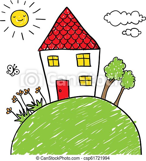 house on a hill doodle - csp61721994
