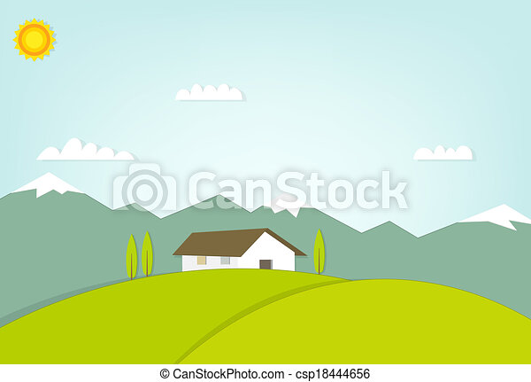 house on a hill on background of mountains - csp18444656