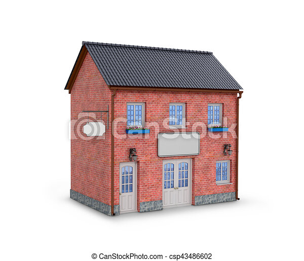 House On A White Background Two Story Brick 3d Illustration