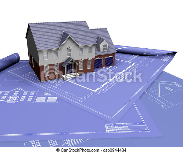 House on blueprints - csp0944434