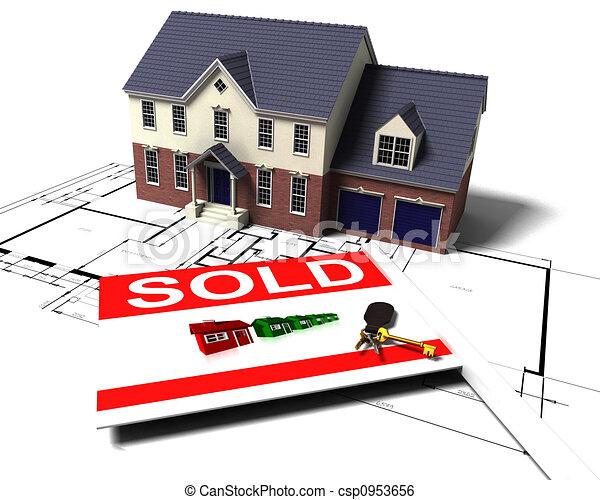 House on blueprints - csp0953656