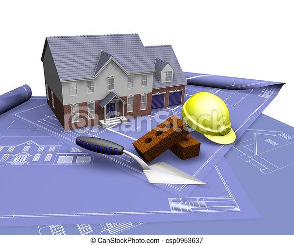 House on blueprints - csp0953637