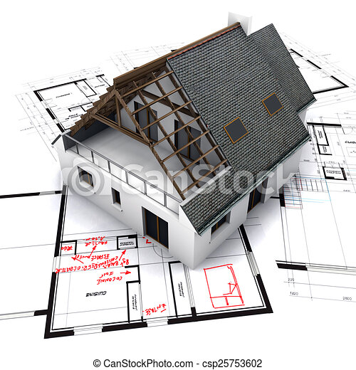 house on blueprints with notes and corrections - csp25753602