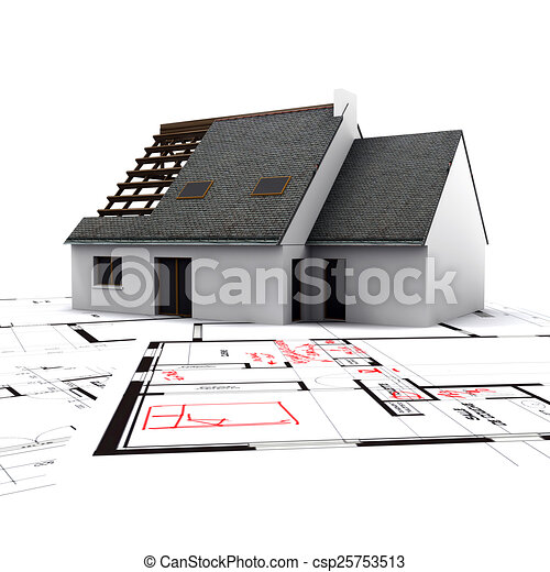 house on blueprints with red corrections - csp25753513