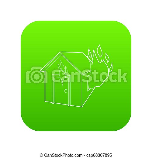 House on fire icon green - csp68307895